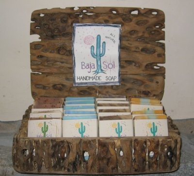 Baja Sol soap display made from local cactus wood