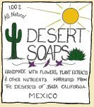 The Desert Soaps logo. 100% all natural. Handmade with flowers, plant extracts and other nutrients. Harvested from the deserts of Baja California, Mexico.